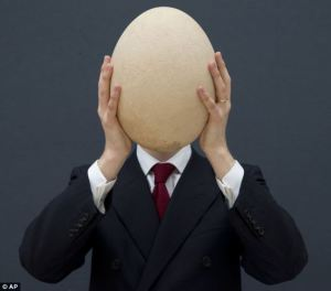 egg in front of head