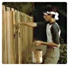 miyagi karate kid painting fence